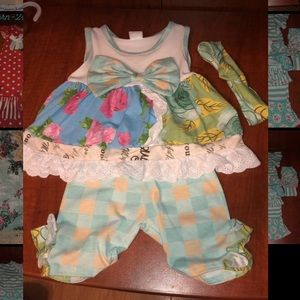 Jumpsuit with matching hair bow